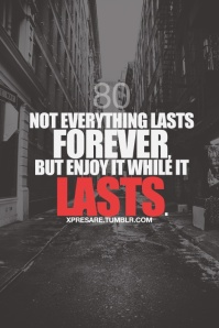 not everything lasts forever but enjoy it while it lasts